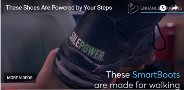 Video screenshot shows heal of SolePower boot and the words These shoes are powered by your steps. These Smart Boots are made for walking.