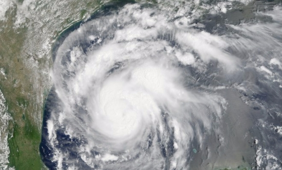 Satellite image of Hurricane Harvey in the Gulf of Mexico