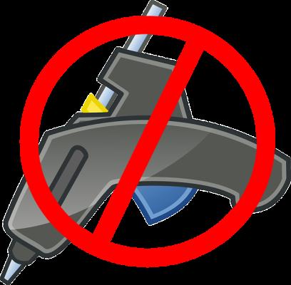 Glue gun with red cancel symbol