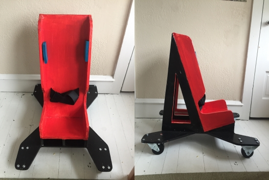 2 images show a scooter that seats a child as in a car seat mounted on a platform with four caster wheels.
