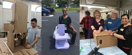 three images: 1) a man at a workbench with a large complicated unfinished project out of cardboard 2) a woman kneeling and smiling in a parking lot with a colorful seating creation with tray, 3) three women in a workshop with their hands resting on a cardboard project that is unfinished, glue gun in foreground.
