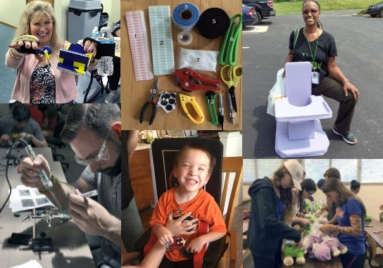 A collage of 6 images showing AT makers and hackers. First row: a woman smiling and holding up her low-tech creations, a group of numbered tools and materials, a woman kneeling smiling with her fabricated pediatric seat. Bottom row: a man soldering, a smiling young boy in a cardboard seat, a group of teens hacking plush toys.