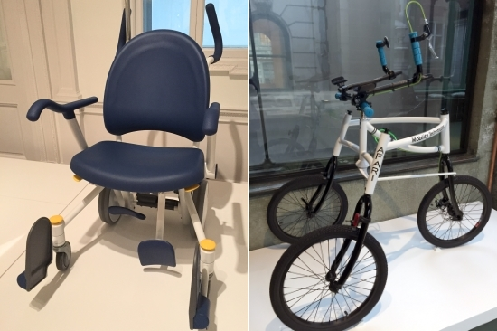 Two images: 1) Transport wheelchair with ergonomic features for users and caregivers and 2) an all-terrain mobility aid with three large wheels and upright bicycle hand grips with brake. AFARI Mobility Technologies is printed on the tubing.