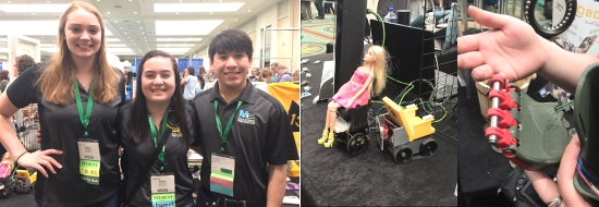 Left: smiling high schools students with linked arms for a picture: two girl and one boy. Middle: a miniature power wheel chair model with a seated Barbie. Right: 3D printed hand components.