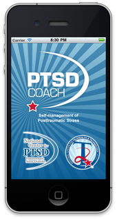 The front page of the PTSD Coach app displayed on an iPhone