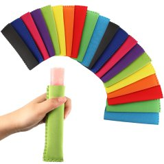 Ice pop sleeves, person holding a sleeve on an ice pop.