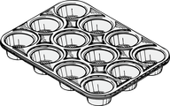 Graphic of an empty muffin pan.
