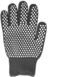 Oven mitt with grippy dots on the surface.