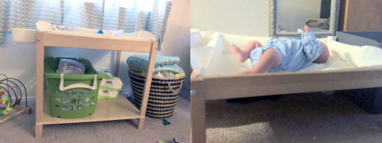 Left photo shows a taller table with a shelf holding a hamper and supplies. The right picture shows a low table with padding and baby looking toward a mirror mounted behind.