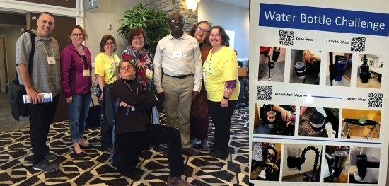 Two photos: a group shot of men and women standing and smiling for the camera in a hotel lobby, one is kneeling in front on one knee comically. 2) a poster shows different mounting and holding solutions for cups and water bottles, also QR codes.