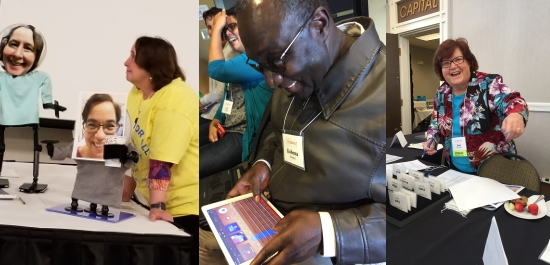 Three photos. 1) Therese Willkomm at a Maker station gazes at a mounting solution that whimsically displays a photo of her own face and wears a tshirt. 2) A man wearing dark glasses smiles as he feels the display of an iPad. 3) a woman smiles and gestures over a registration table.