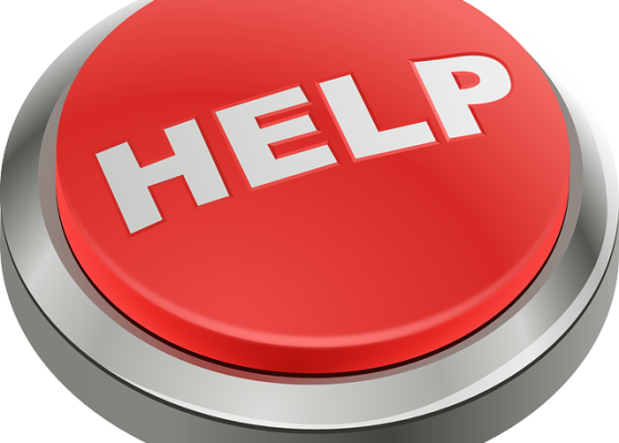 Graphic of a big red panic button with the word HELP