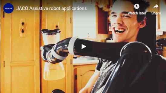 YouTube screen shot shows smiling man with robotic arm holding a water bottle in front of him.