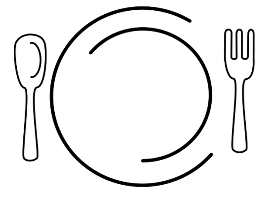 Minimalist drawing of a plate, spoon and fork.