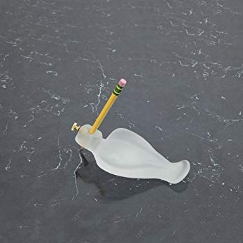 A plastic hand support shaped like a flat dove holds a pencil upright with a screw.