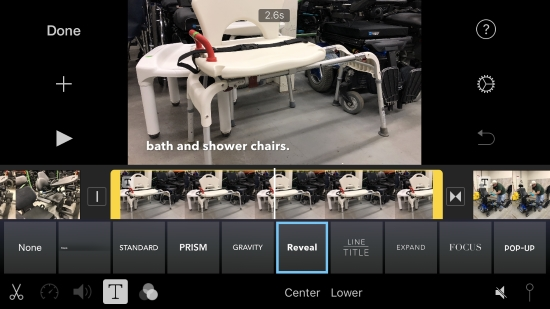 iMovie screenshot shows bath chair with title