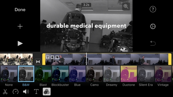iMovie app screenshot shows app with video clip selected and color options open. B&W option is selected with man in power chair. Title on clip reads