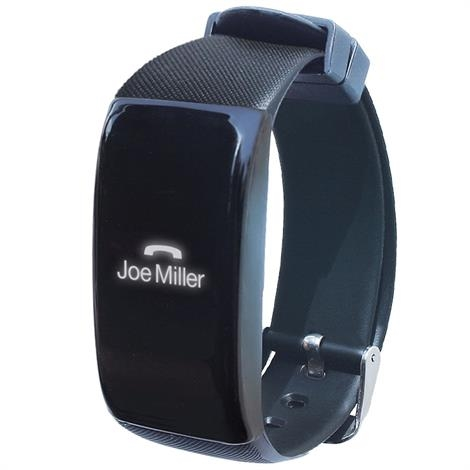 Sleek watch with digital display showing handset icon and the caller's name, Joe Miller.