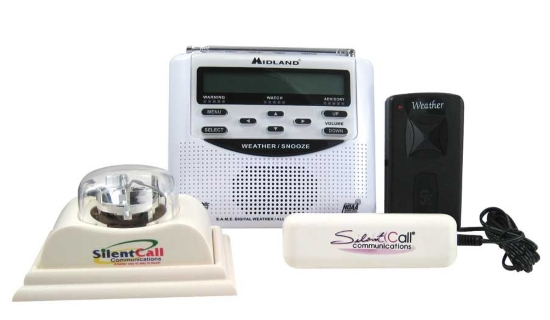Midland weather radio and alert system shows four devices, two are labeled SilentCall Communications, one is a conventional weather, another is an external speaker.