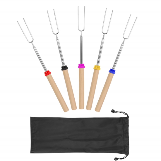 Five retracted roasting sticks with forks and wooden handles, each with a different color collar.