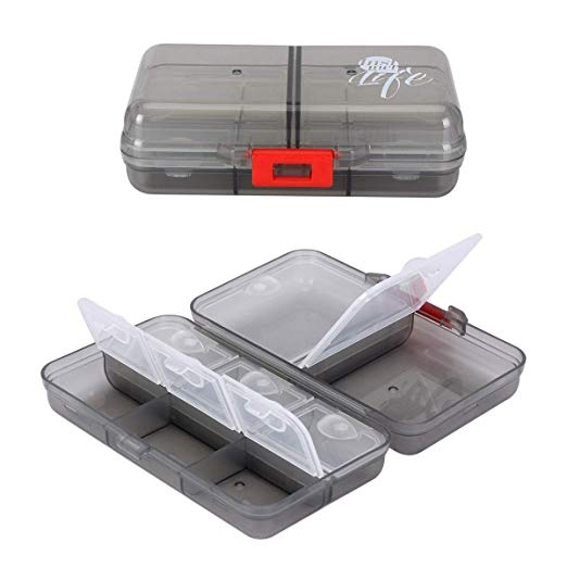 A small clear plastic pill suitcase in two images, one closed and one open showing 6 small interior compartments and two larger interior compartments.