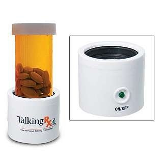 A prescription bottle seated in a Talking RX base that's shaped like a cup and has an on/off button.