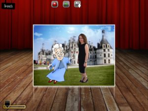 A woman appears in a fairy tale scene with a cartoon character.