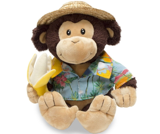 A plush toy monkey holding a banana