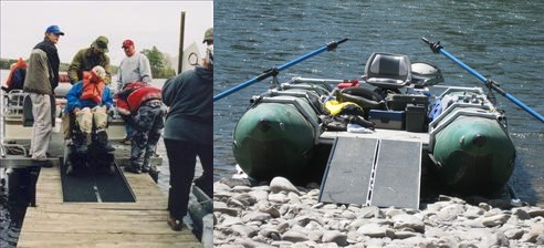 Two images. On the left is a wheelchair user backing onto a powerboat from a dock with assistance of ramps and friends. On the right is a cataraft with ramps leading from shore.