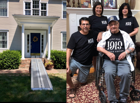 Two images, on the left is the entrance to a house with portable ramps, two sets from grass to threshold. On the right is a group of 4 people including an elderly man in a wheelchair. They are posing in a living room wearing commemorative t-shirts for his 100th birthday.