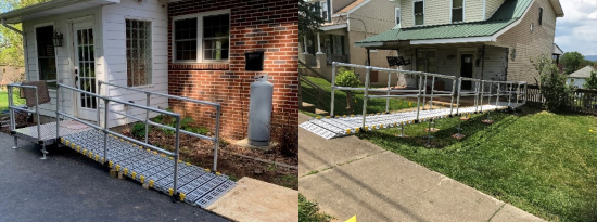 Left: a portable ramp with side rails leads from pavement to a metal platform before a home's entrance. Right: a long portable ramp with side rails acts as a bridge from a sidewalk to porch over grass.