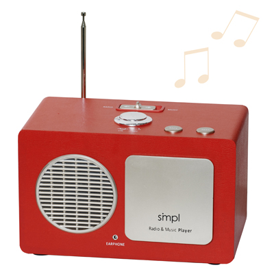 A radio/music player shaped like a simple box with a speaker facing forward and three buttons on top.