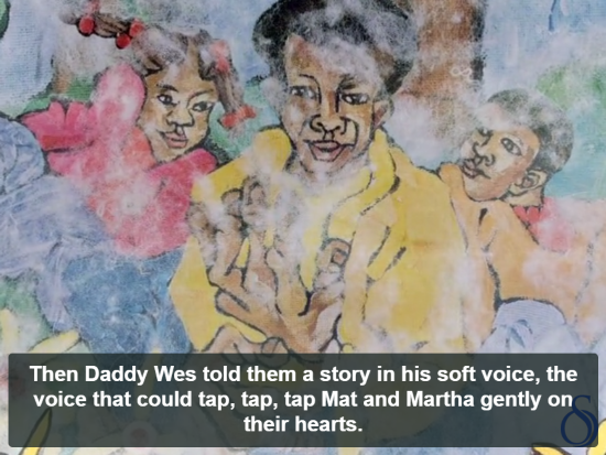 Illustration of three black children and the caption,
