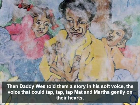 Illustration of three black children and the caption,
