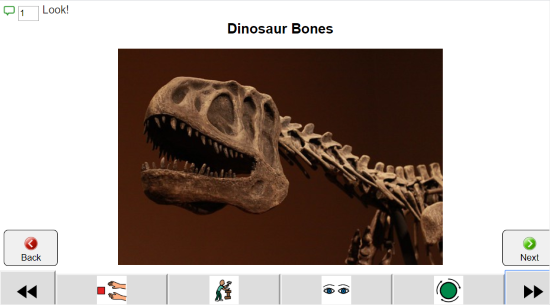 Dinosaur Bones and photo of a dinosaur skeleton. Below are icons for communication and in the upper left the word Look and a symbol for the number of comments recorded.