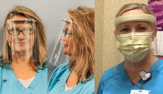 Women health care workers wearing DIY face shields.