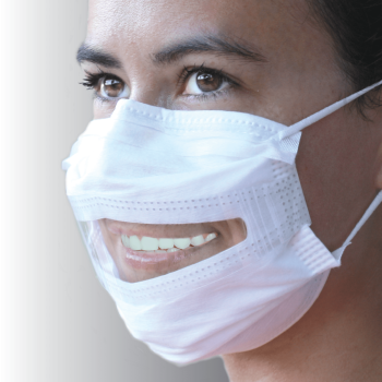A woman smiles wearing a surgical mask with a window.