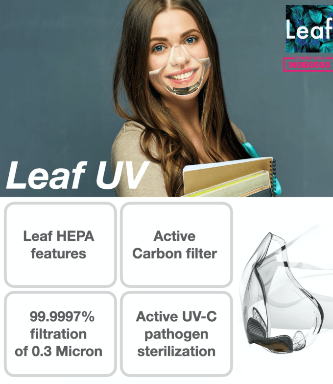 Leaf UV shows a woman smiliing wearing a clear silicone mask. Text reads: Indiegogo funded. Leaf HEPA features 99.9997% filtration of 0.3 Microns. Active Carbon filter. Active UV-C pathogen sterilization.