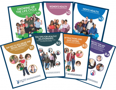 Shows covers of 7 workbooks featuring smiling people.