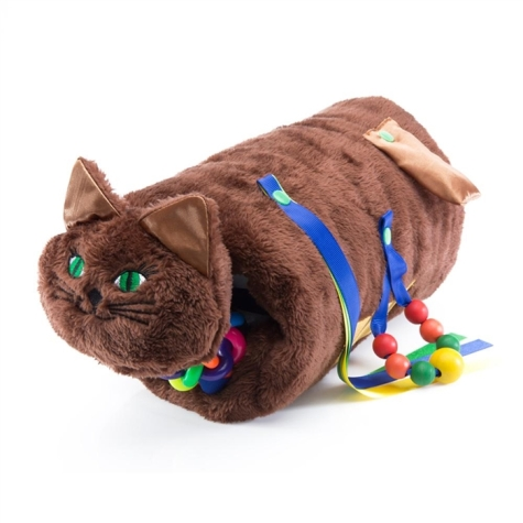 Plush cat muff with ribbons and beads dangling off its body for fidgeting.