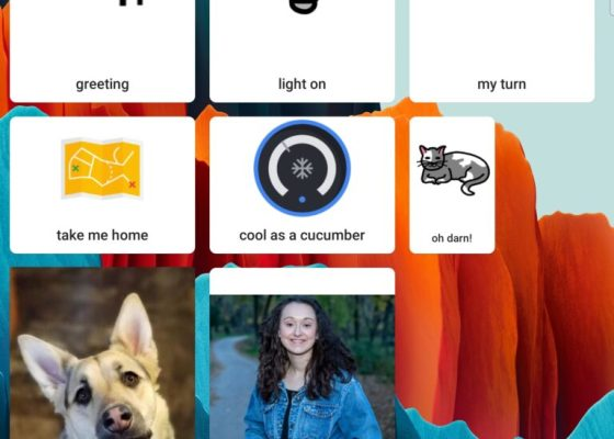 Android Action Blocks show symbols and photos with captions.