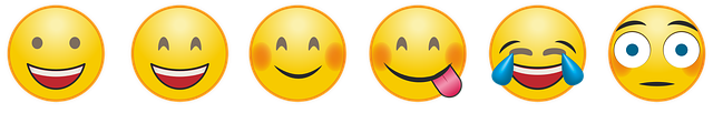 A series of six emoji with different smiles or expressions.