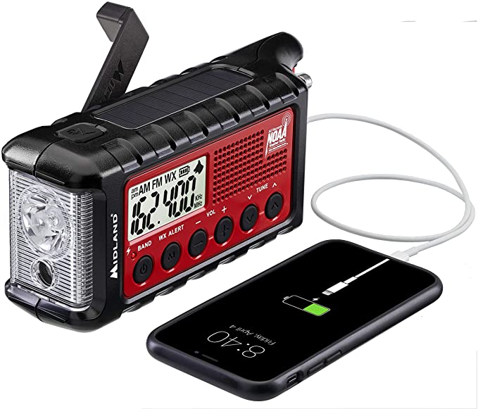 A Midland NOAA radio with solar panel and hand crank. It shows an iPhone charging from the radio.