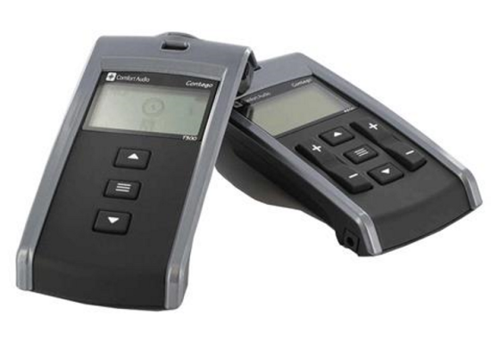 Two hand held devices: a transmitter and a receiver. Each has buttons and LCD screens.