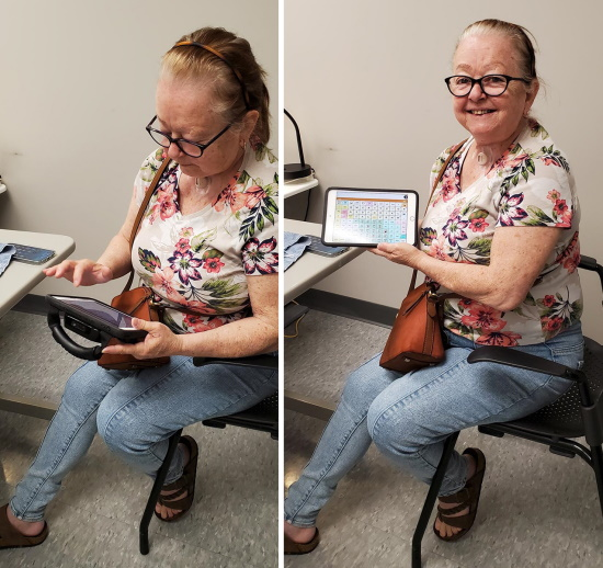 Two images of a woman seated at a desk holding a tablet computer. On the left she is gesturing toward the screen with her index finder; on the right she is holding the display up for the photo and smiling.
