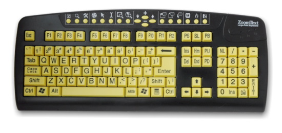 A computer keyboard with large yellow keys and bold black letters.